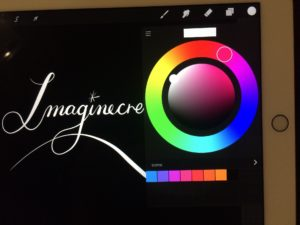 Color wheel and swatches on Procreate