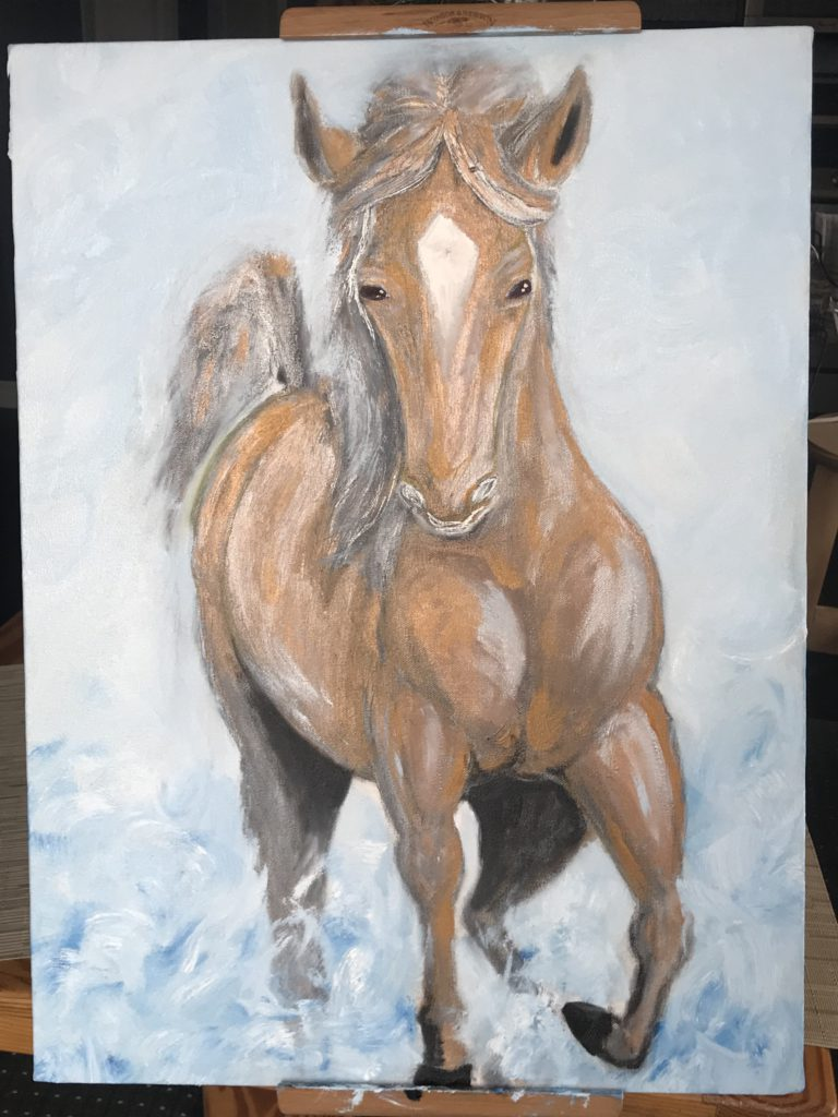 Golden Horse in Water 3